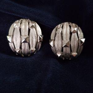 Trifari Vintage Silver Toned Oval Clip On Earrings